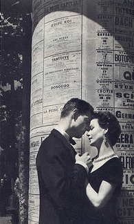 vintage couple about to kiss