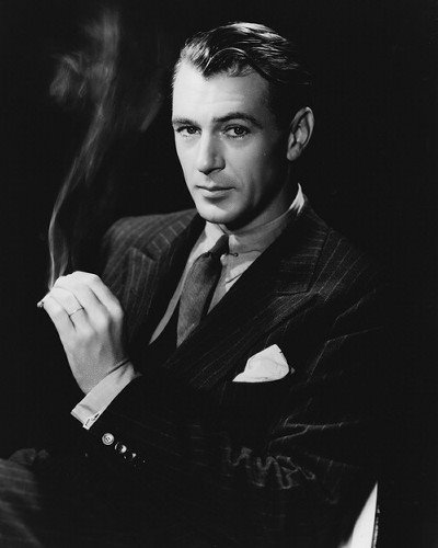 gary cooper in suit with pocket square
