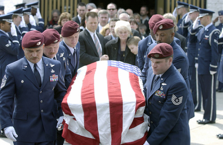 soldier funeral flag over casket