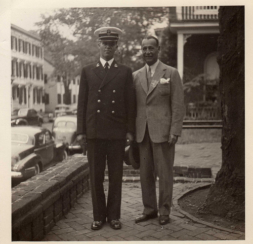 vintage father with military son