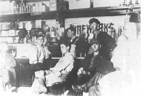 vintage young men at a soda fountain