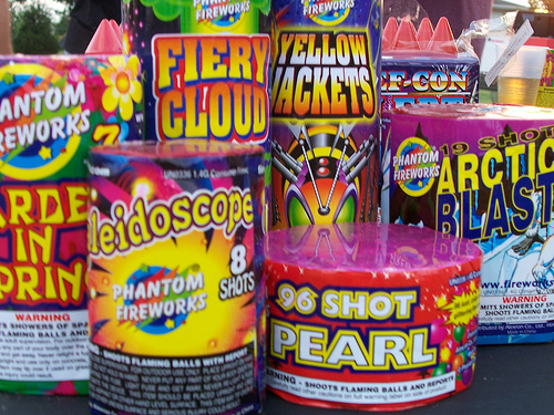 assortment aerial fireworks