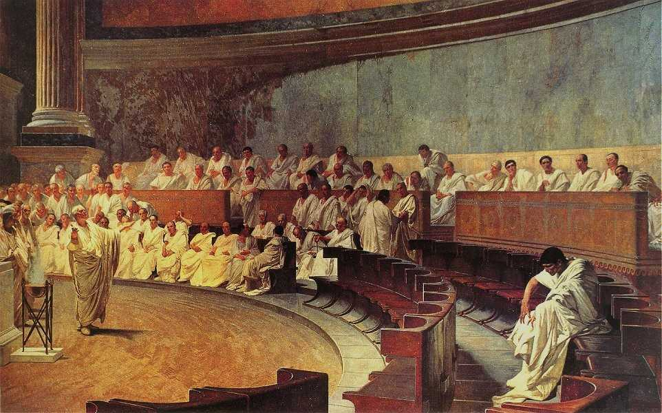 Cicero Denounces Catiline, fresco by Cesare Maccari, 1882-1888