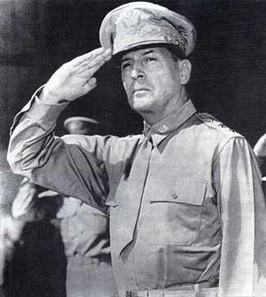 general douglas macarthur saluting troops