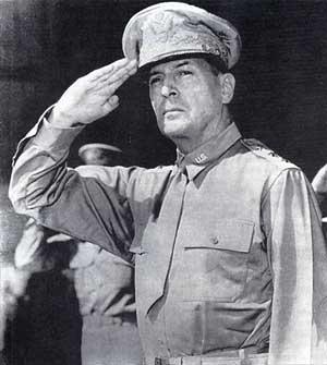 general douglas macarthur saluting troops