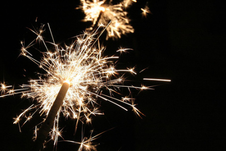 sparkler firework up close
