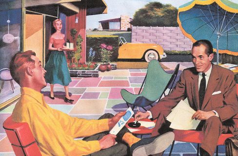 vintage 1950s illustration of living in the suburbs