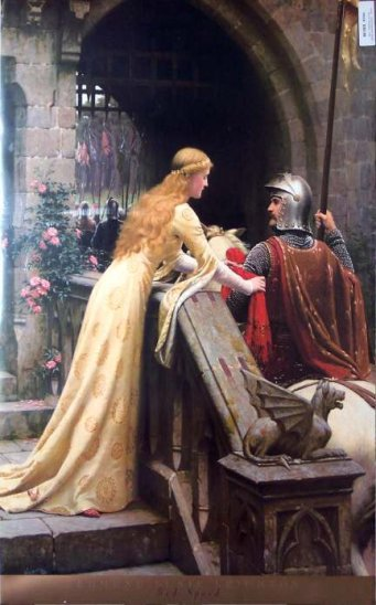 Knight with lady princess at medeival times illustration.