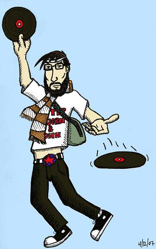 Indie hipster illustration slinging records.