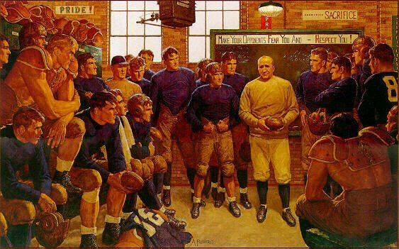knute rockne locker room painting arnold friberg