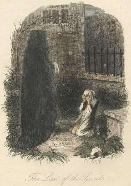 Ebenezer Scrooge illustration about ghost of christmas future.