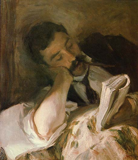 painting man reading in bed if rudyard kipling