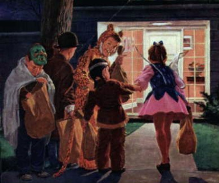 vintage trick or treating illustration 1950s 1960s