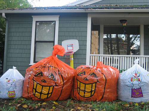halloween pumpkin leaf bags scare kids trick