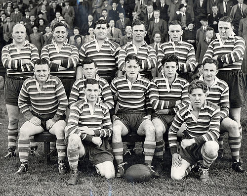 vintage rugby team photo early 1900s