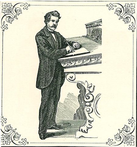 victorian man standing and writing letter engraving