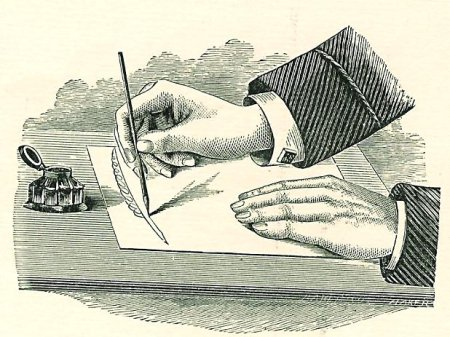 letter writing with inkwell engraving illustration