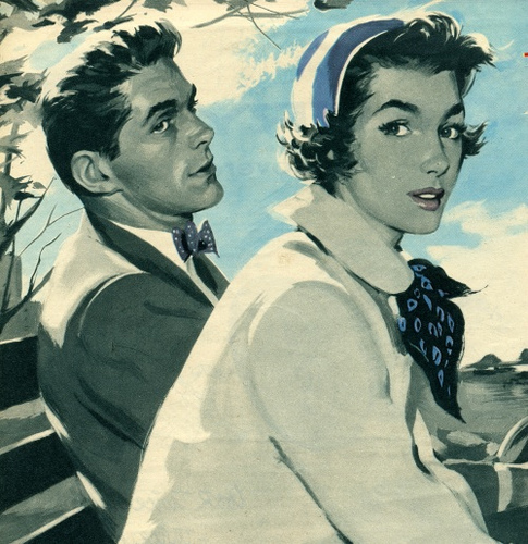 vintage couple illustration outdoors 1950s