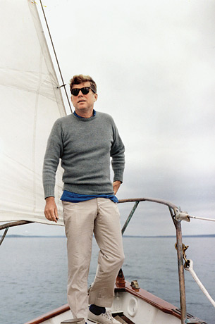 john f kennedy sailing khakis and sweater