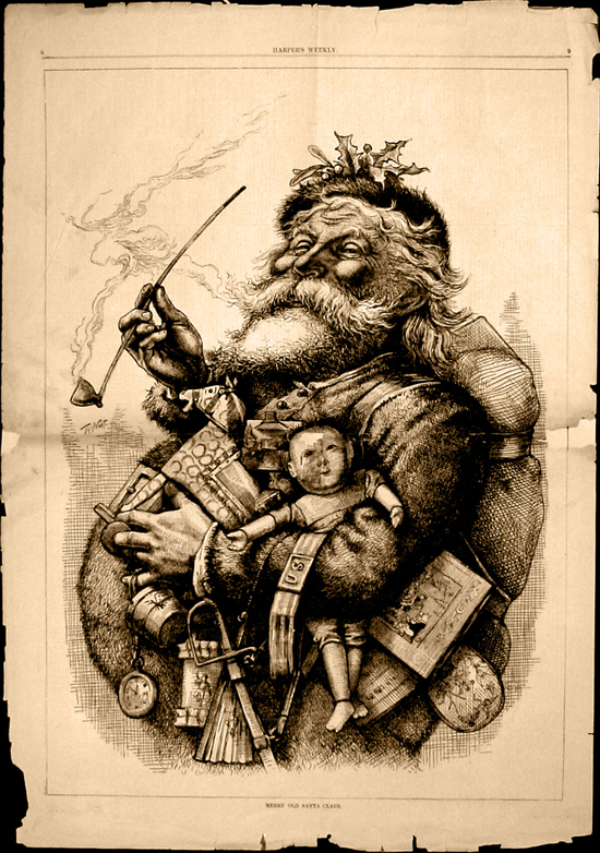 vintage santa claus illustration best facial hair