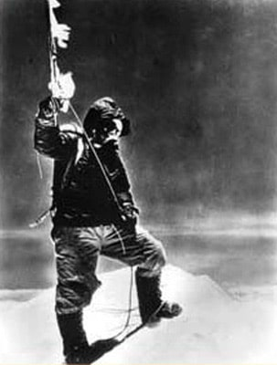 mountaineer on top of mountain 1950s oxygen