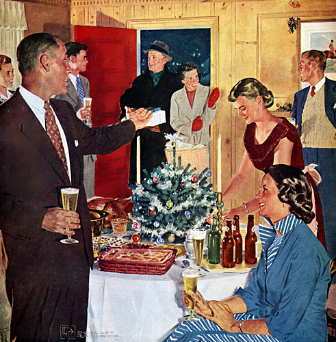 People enjoying christmas party with drinking illustration.