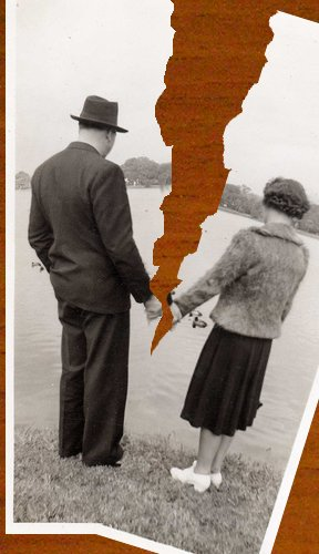 vintage couple photo torn break up relationship