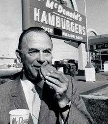 ray kroc eating hamburger mcdonalds founder