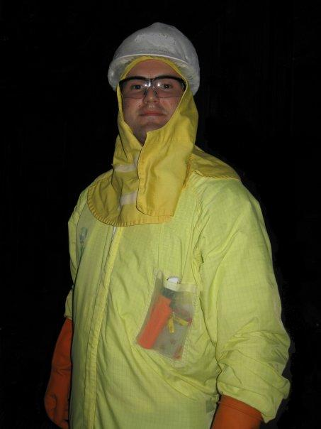 Jack Gamble wearing nuclear suit.