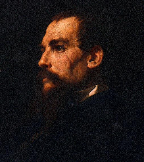 sir richard francis burton side portrait painting 1800s