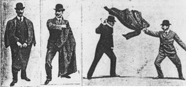 Vintage Bartitsu using coat as weapon illustration.
