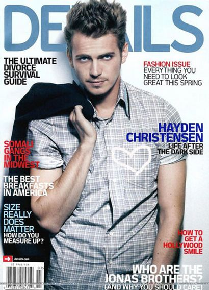 Magazine cover, details by Hayden Christensen.