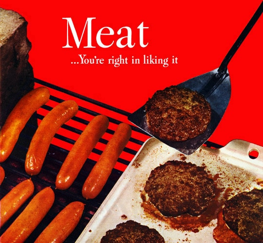 vintage meat advertisement 1960s grilling