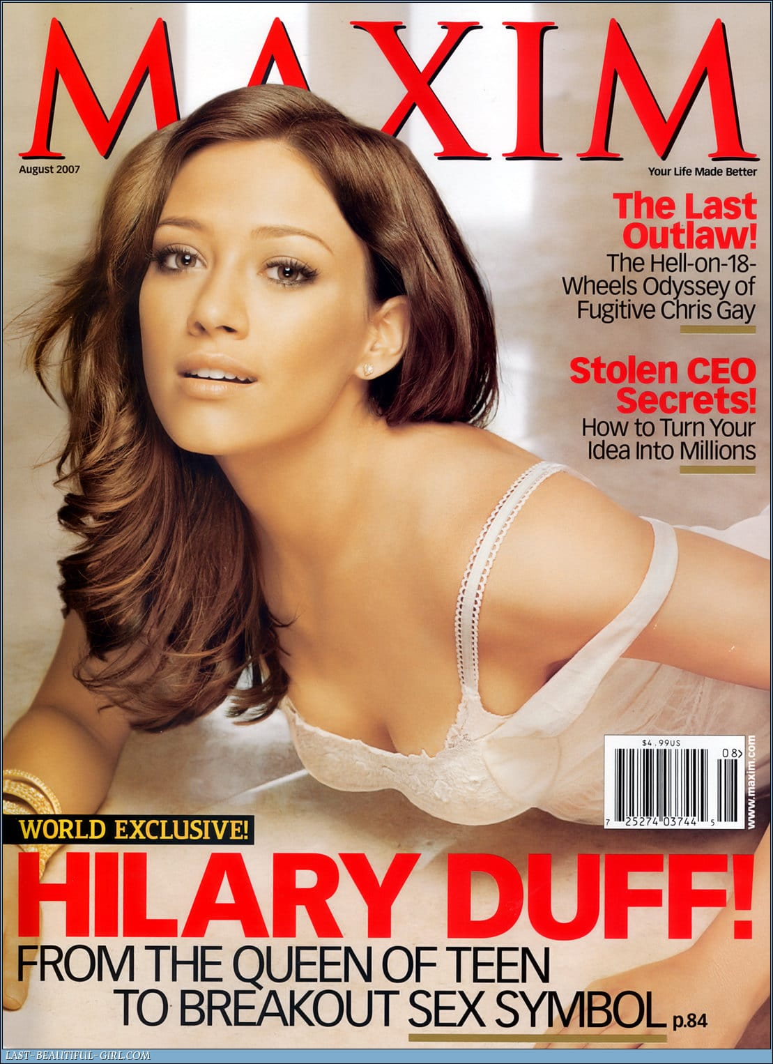 Magazine cover, maxim by Hilary duff.