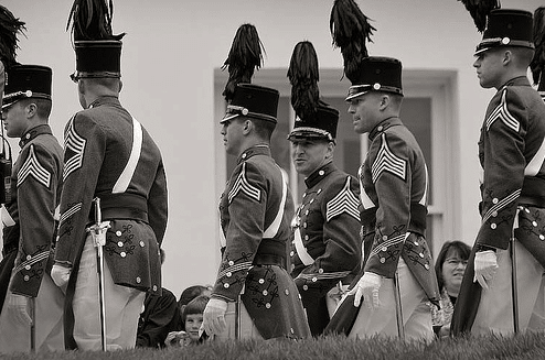 core of cadets virginia tech black white