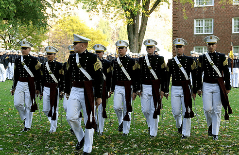 norwich university cadets marching in formation