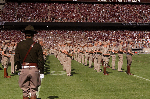 Texas A&M corps of cadets on football field