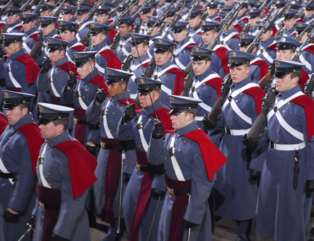 Corp of cadets standing in virginia military institute.