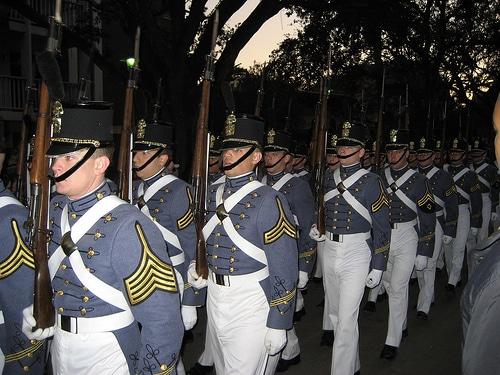 Citadel students marching.