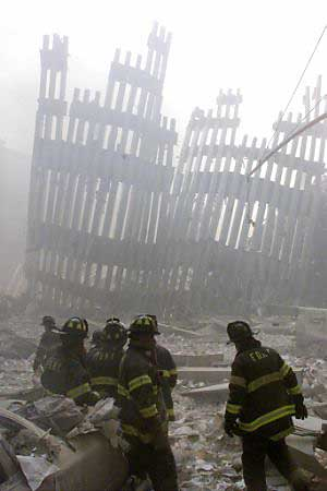 firefighters 9/11 twin towers wreckage aftermath