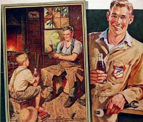 vintage coke ad father son blacksmith shop