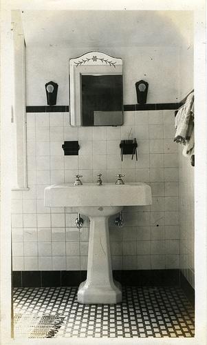 Vintage home bathroom portrait.