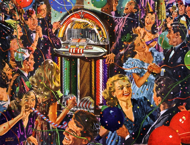 1950s party illustration jukebox dancing