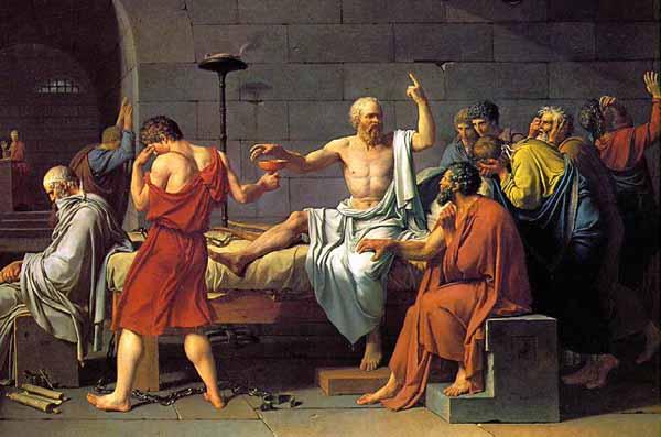 Socrates debating with peers in school illustration.