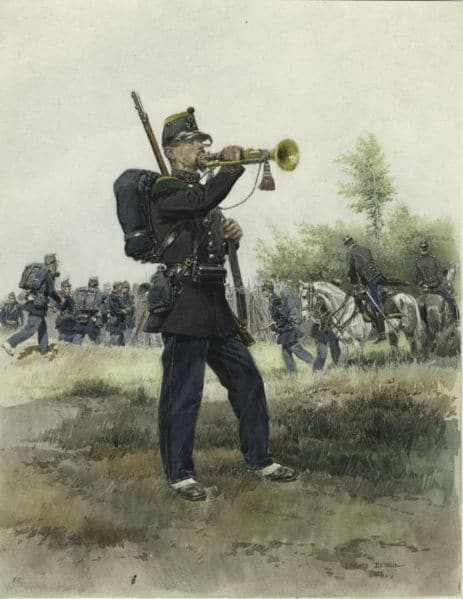 Reveille Bugler playing the trumpet illustration.