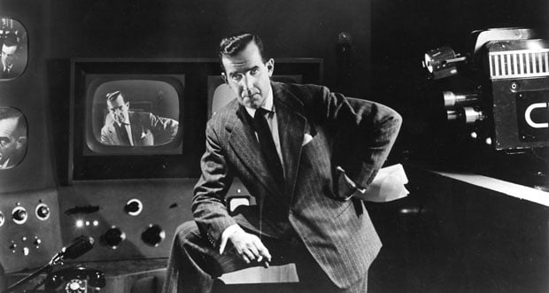 edward r murrow in production room suit cigar