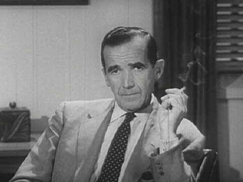 edward r murrow at desk with cigarette