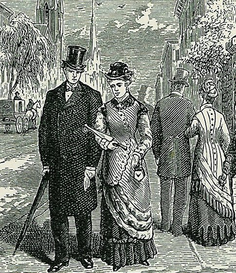 victorian couple engraving walking down street 1800s
