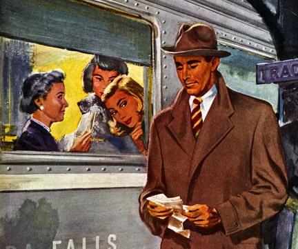 1950s ad advertisement man coat next to train