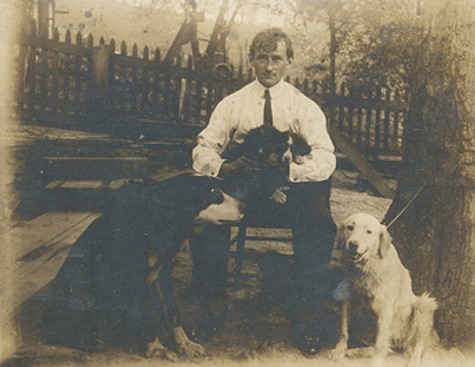 vintage man with dogs 1800s portrait